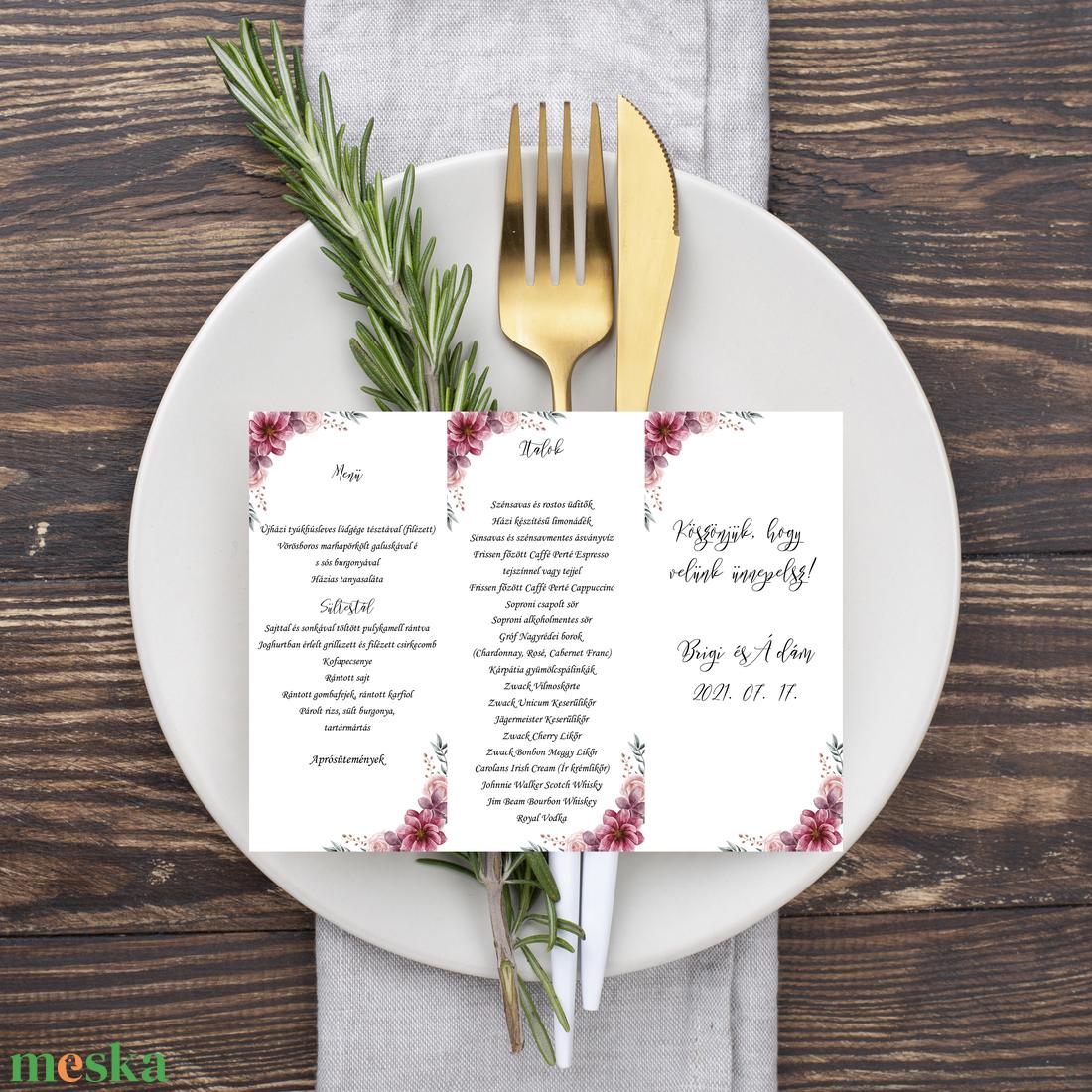 Mályva virágos, álló, háromszög menükártya, szalaggal kötve - esküvő - meghívó & kártya - menü - Meska.hu