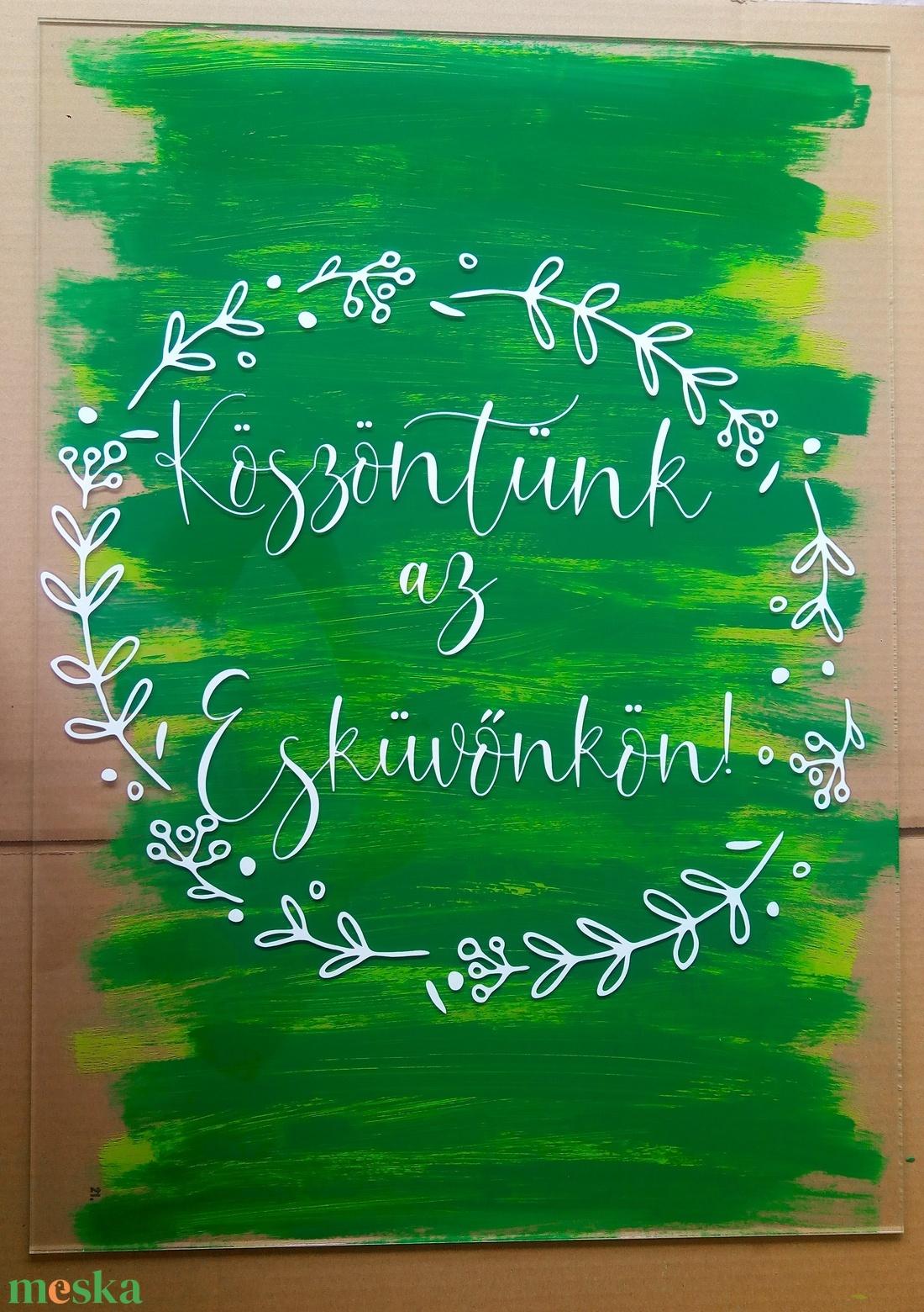Festett plexi tábla esküvőre, party dekor - esküvő - dekoráció - tábla & jelzés - Meska.hu