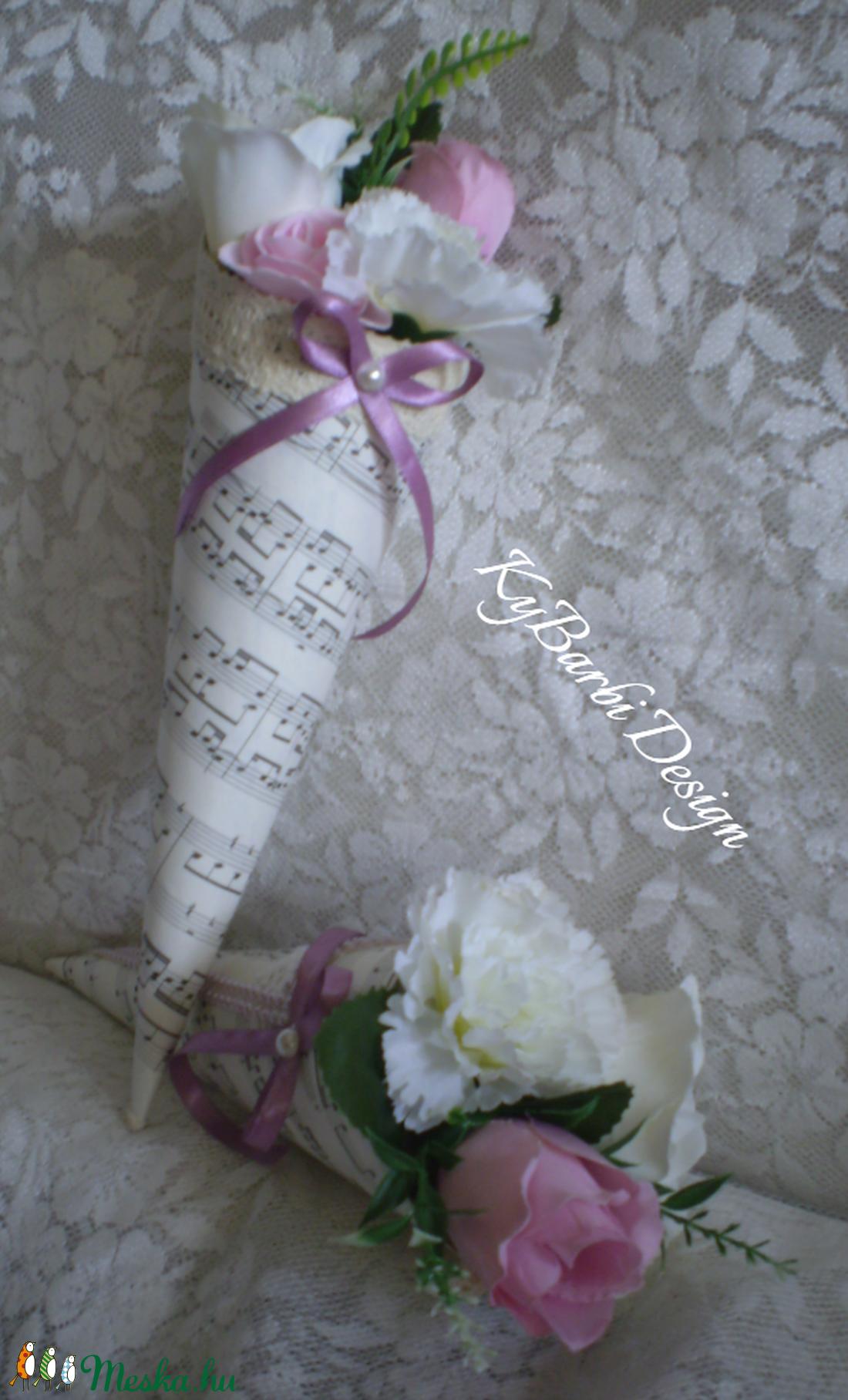 Vintage virágtölcsér - tavaszi virágcsokor - örökcsokor - szülinapi - névnapi csokor - esküvői dekoráció (KyBarbi) - Meska.hu