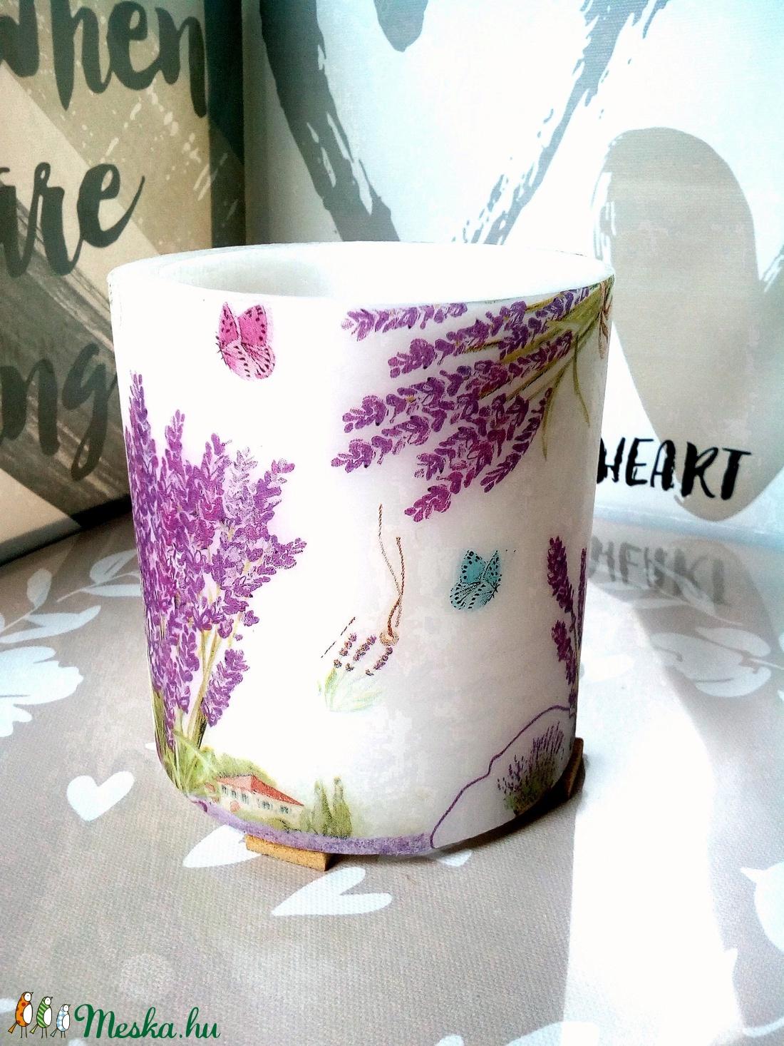 Bouquet de lavandeLampiongyertya  - otthon & lakás - dekoráció - gyertya & gyertyatartó - Meska.hu