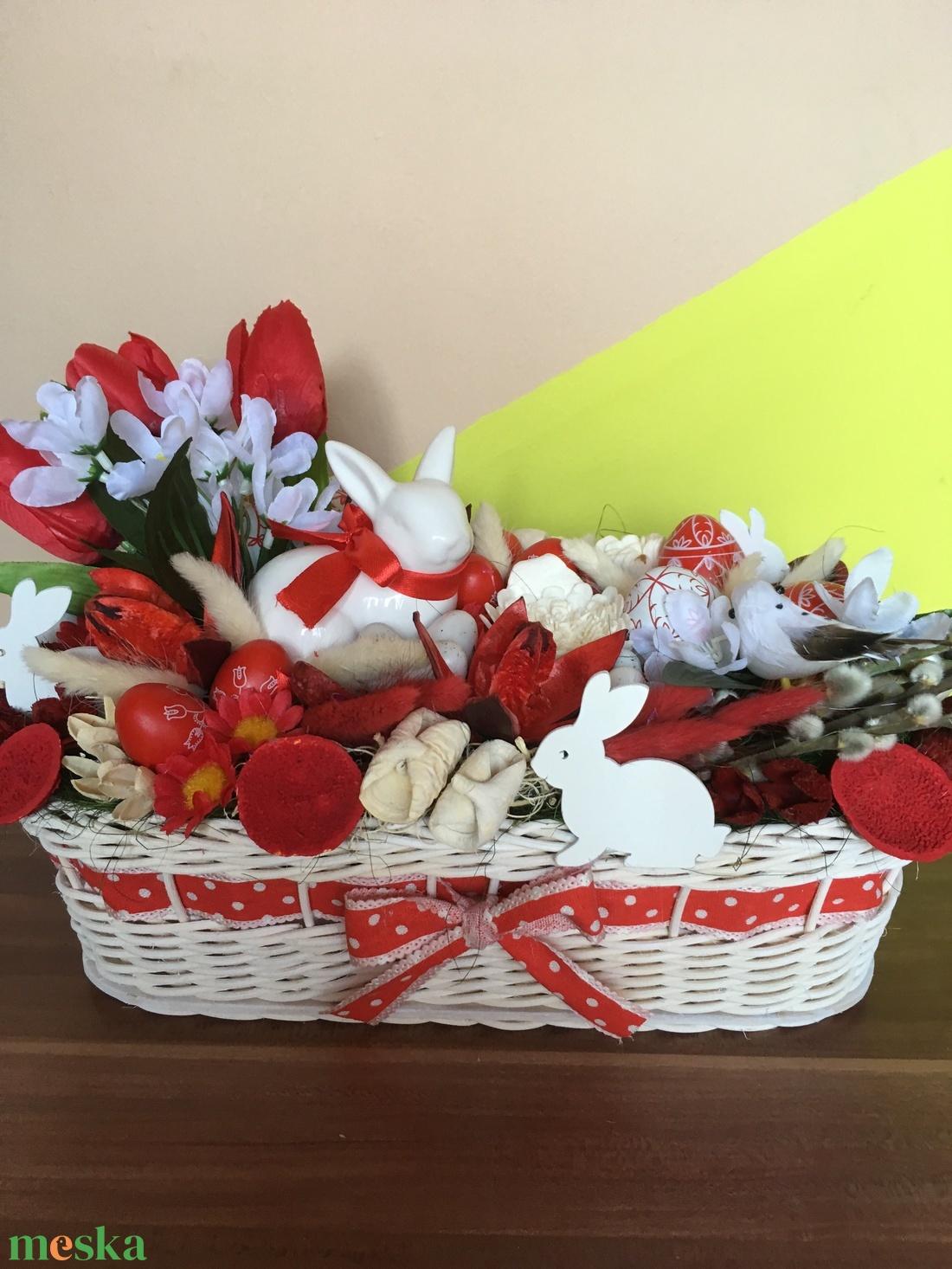 Piros-fehér húsvéti asztaldísz (laszlomargit) - Meska.hu