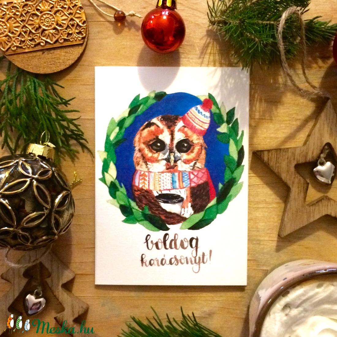 Karácsonyi képeslap, üdvözlőlap, bagoly mintával, boldog karácsonyt felirattal leírása (leafandart) - Meska.hu
