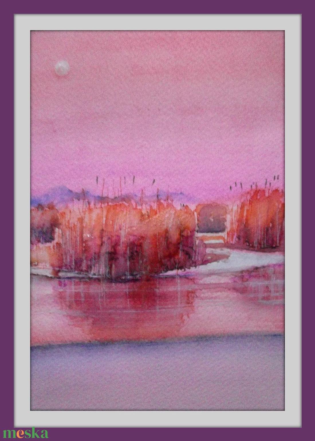 Rózsaszín  - művészet - festmény - akvarell - Meska.hu
