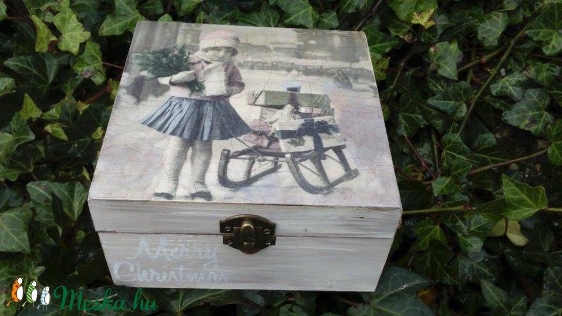 Téli vintage doboz (teás) - otthon & lakás - dekoráció - díszdoboz - Meska.hu
