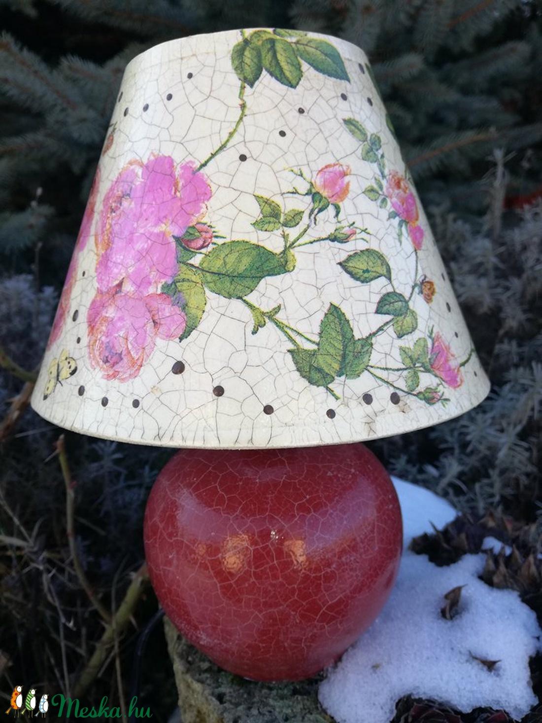 Rózsás asztali lámpa  - otthon & lakás - lámpa - asztali lámpa - Meska.hu