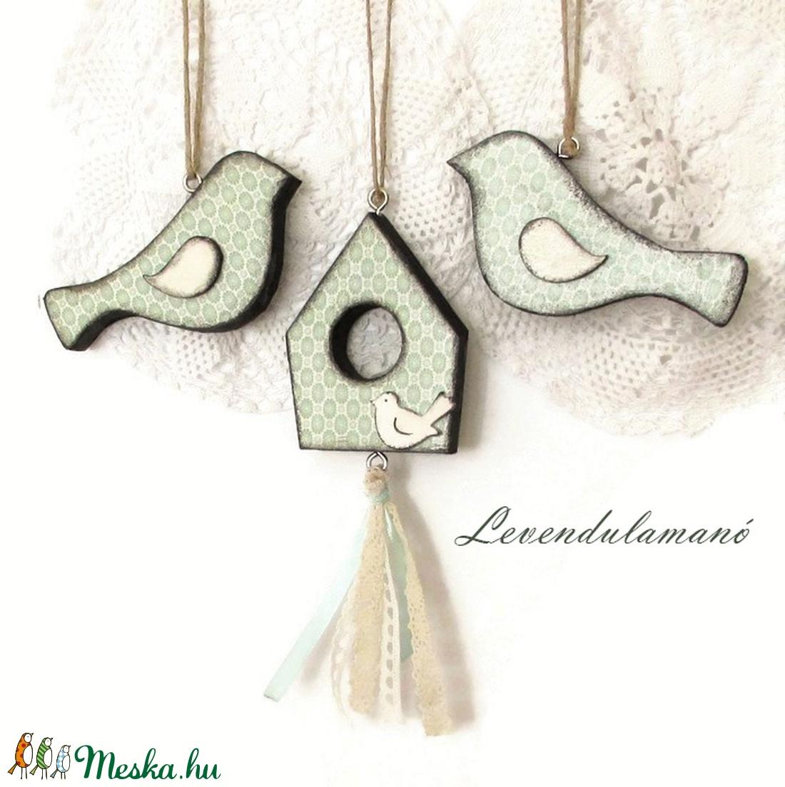 Menta színű madaras szett (Levendulamano) - Meska.hu