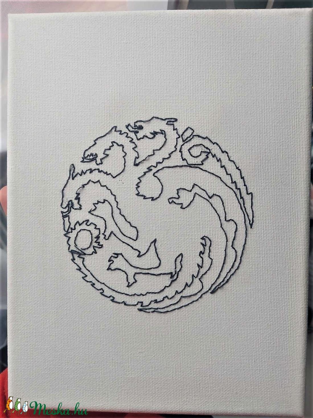 Vászonba varrt kép, Game of Thrones Targaryen-ház címere - Meska.hu