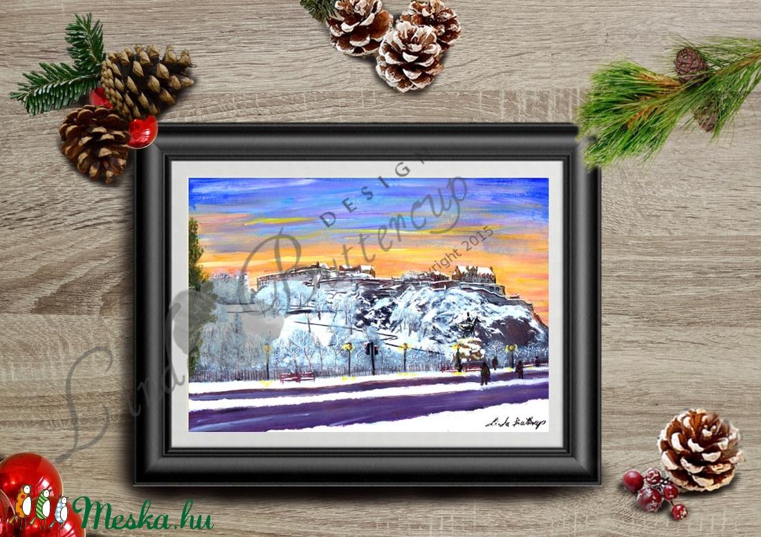 591712156708 Karácsonyi Kép, Adventi Képeslap, Téli táj festmény, Karácsonyi Dekoráció