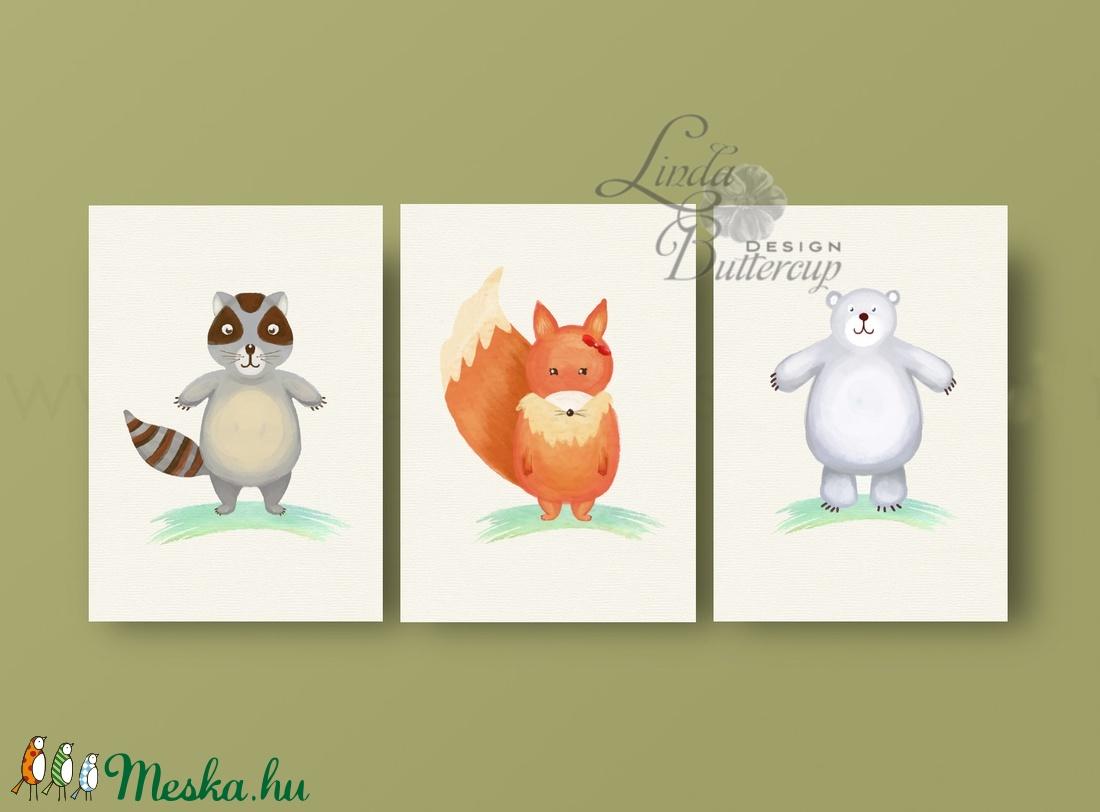 Babaszoba Dekoráció, Állatok festmény, Erdei állat, vad állatok falikép, Gyerekszoba dekor ...