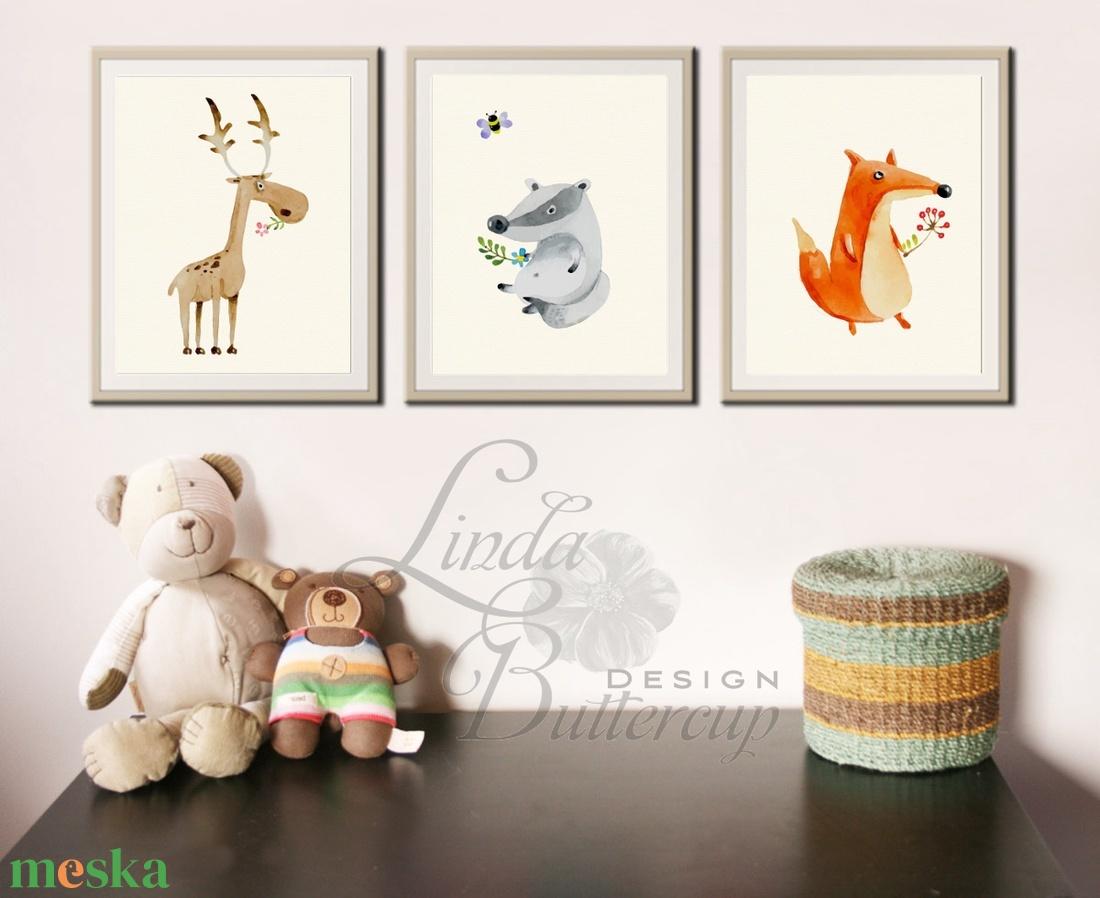 Babaszoba Dekoráció, Állatok festmény, Erdei állat, vad állatok falikép, Gyerekszoba dekor, medve, mókus, majom - otthon & lakás - dekoráció - kép & falikép - kép & falikép - Meska.hu
