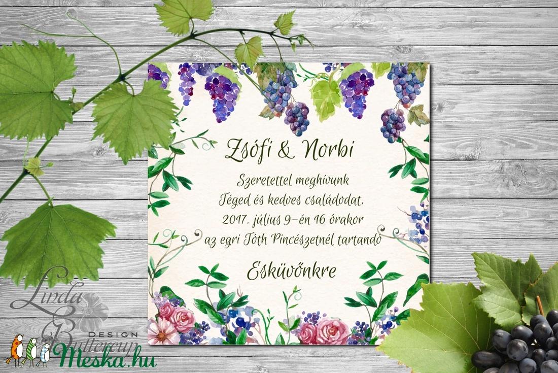 Rusztikus Esküvői meghívó, boros pince, szőlő, bor, Rusztikus Esküvői lap, tavaszi, vadvirágos meghívó - esküvő - meghívó & kártya - meghívó - Meska.hu
