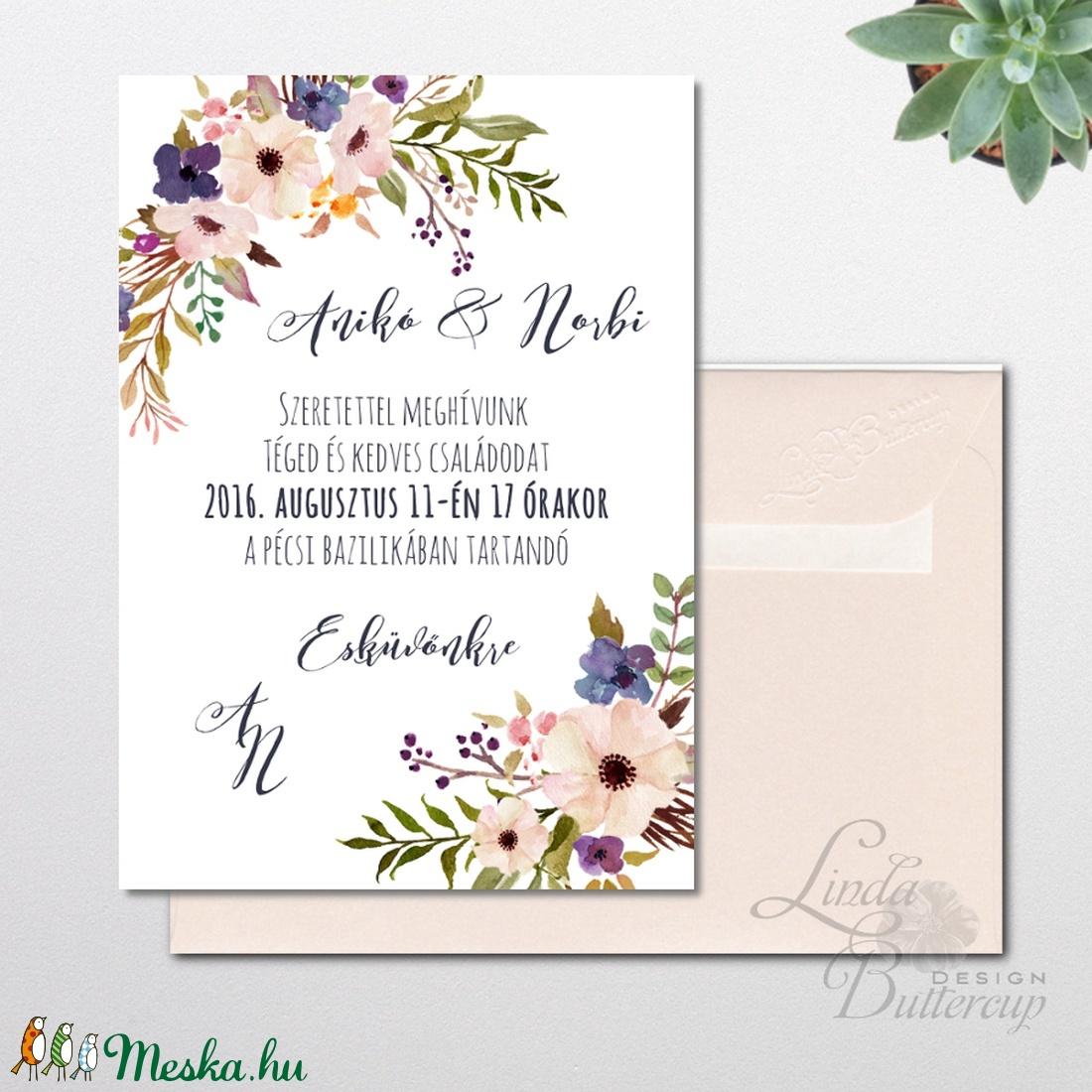 Nyári Esküvői meghívó, Nyári Esküvő, Tenger kék meghívó, Barack virágok, nyári virágos meghívó, Modern - esküvő - meghívó & kártya - meghívó - Meska.hu