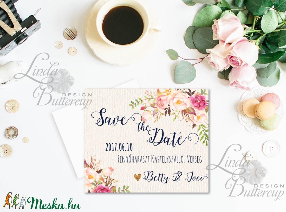 Save the date, jegyezd fel kártya A6, Virágos, Értesítő, Esküvő, dátum, nagy nap (LindaButtercup) - Meska.hu