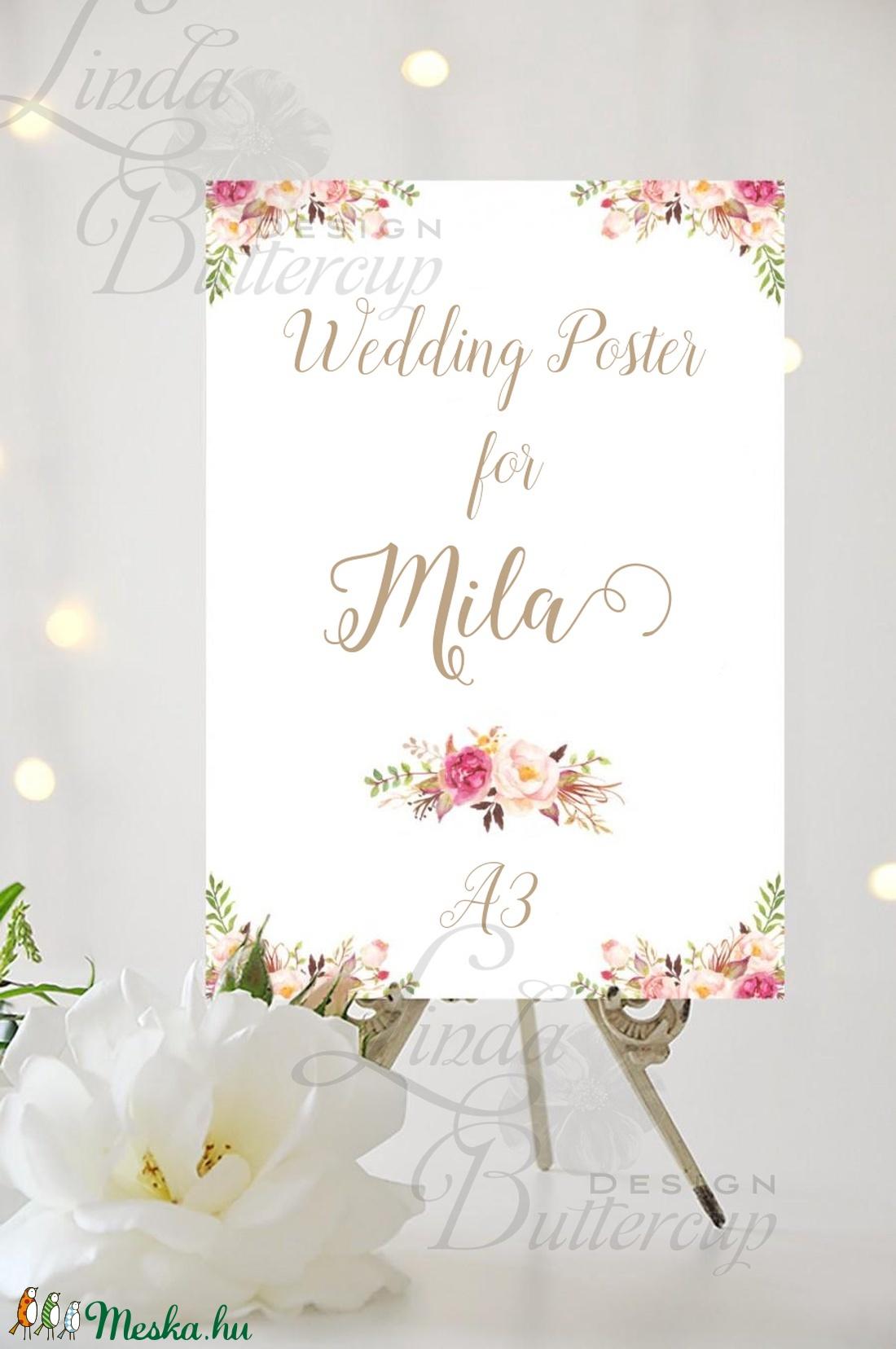 Esküvői Poszter A3, Esküvői kép, Esküvő Dekor, Esküvői felirat, Vintage, Elegáns, Virágos, Vendég (LindaButtercup) - Meska.hu