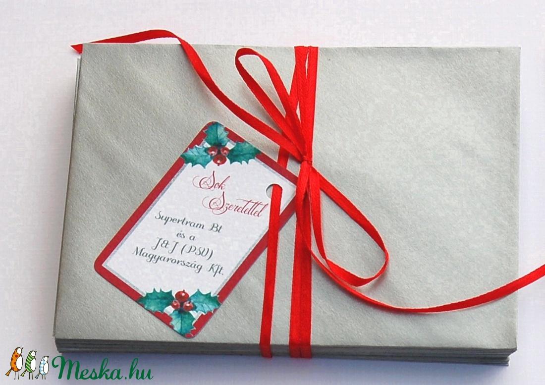 73eece1475 Karácsonyi Ajándékkísérő, Adventi Kártya, Mikulás, piros, Ünnepi,  kiskártya, ajándék, ezüst, magyal, fagyöngy