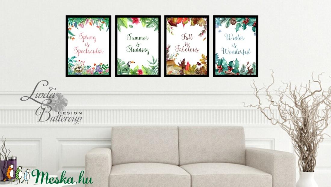 4 évszak, otthoni dekoráció, négy évszak, Virág festmény, Print, falikép, Tavaszi kép, nyomat, tél, ősz, tavasz, nyár (LindaButtercup) - Meska.hu