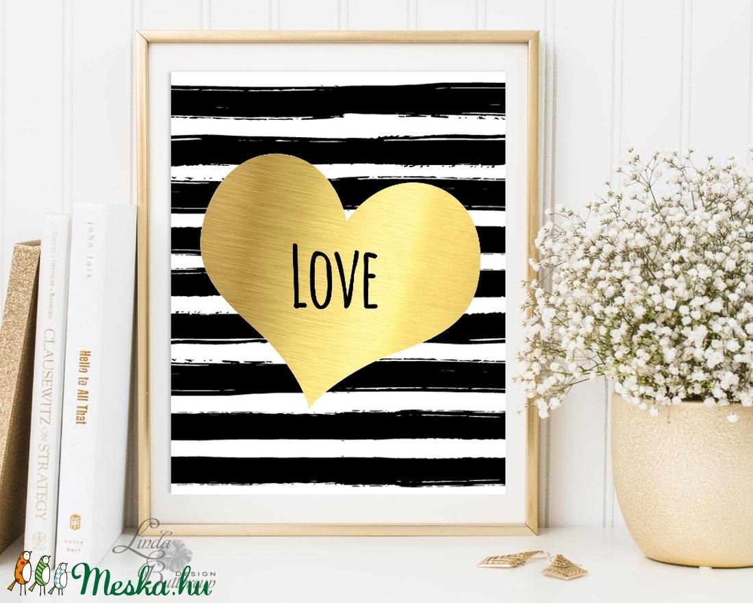 Valentin napi dekoráció, Arany Szív, Modern falikép, Szerelem, Tavaszi, love, Húsvéti, gyerekszoba, tavasz,otthon (LindaButtercup) - Meska.hu