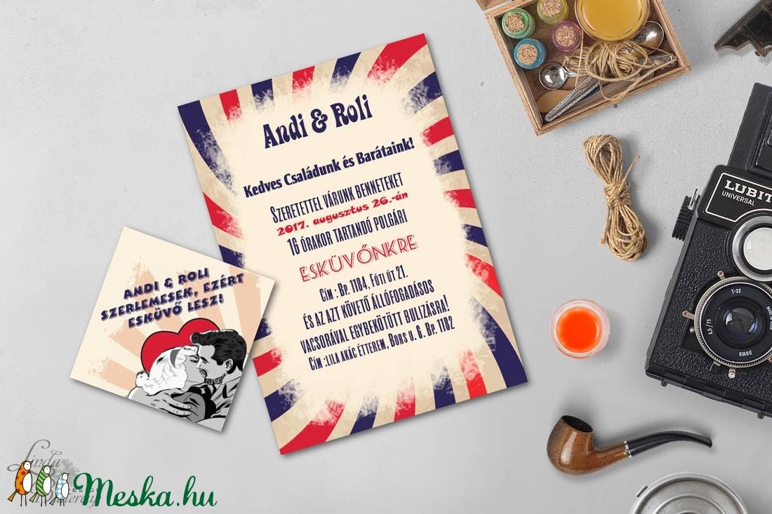 RETRO meghívó, Retro Esküvő, Vintage meghívó, Pop art, Pop, Rocky, 50's, 1950-es évek, nyári meghívó, retro party, buli - esküvő - meghívó & kártya - meghívó - Meska.hu