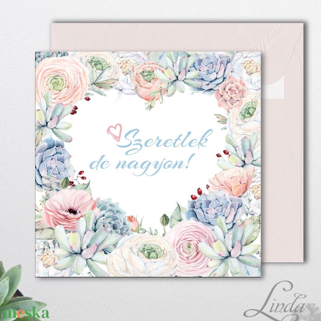 Valentin napi Képeslap, névre szóló lap, szív, pasztell, kövirózsa, virágos, tavaszi, love, szeretlek, szerelmes, tavasz - otthon & lakás - papír írószer - képeslap & levélpapír - Meska.hu