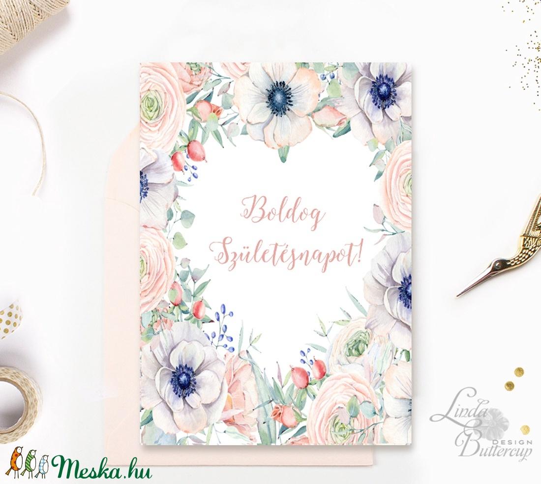 Szülinapi Képeslap, Születésnap, lap, üdvözlőlap, ajándék, Szív, szives, virágos, tavaszi virág, rózsa, pasztell, barack (LindaButtercup) - Meska.hu
