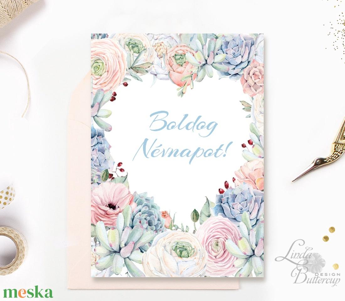 Névnapi Képeslap, Névnap, lap, üdvözlőlap, ajándék, Szív, szives, virágos, tavaszi virág, rózsa, pasztell, barack (LindaButtercup) - Meska.hu