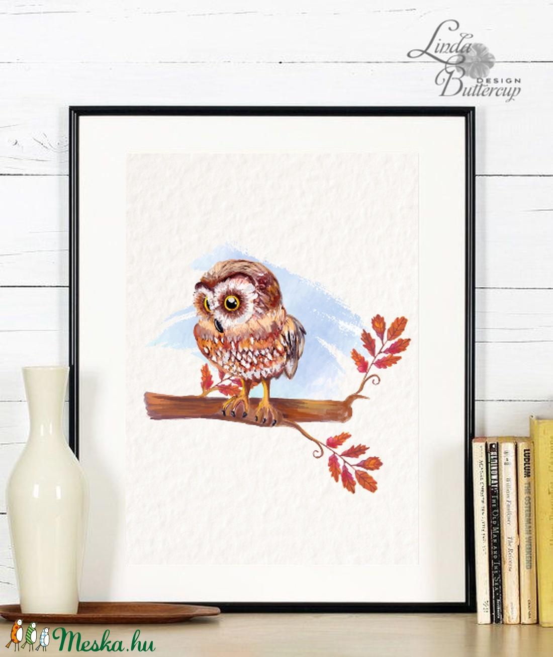 Babaszoba Falikép, Bagoly festmény, Gyerekszoba kép, dekoráció, erdei állat, madár, baba kép, baby, cuki, állatos - otthon & lakás - dekoráció - felirat - Meska.hu