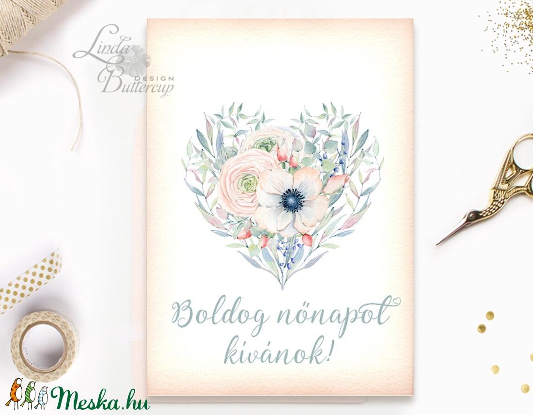 Nőnapi Képeslap, nőnapra üdvözlőlap, nő Képeslap,Tavasz, szív, szives, nőknapja, nők, női, virágos, tavaszi virág, krém (LindaButtercup) - Meska.hu