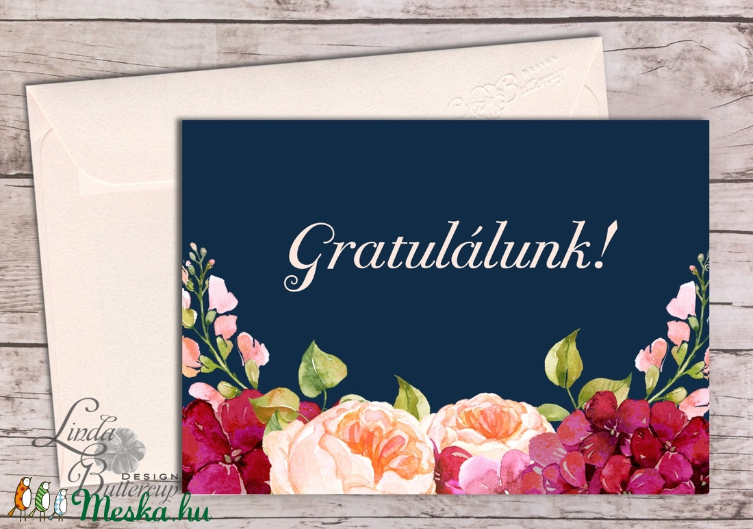 Gratulálunk képeslap, Pénzátadó lap, Esküvői gratuláció, nászajandék, Esküvői lap, jó kívánság, virágos, sok Boldogságot (LindaButtercup) - Meska.hu