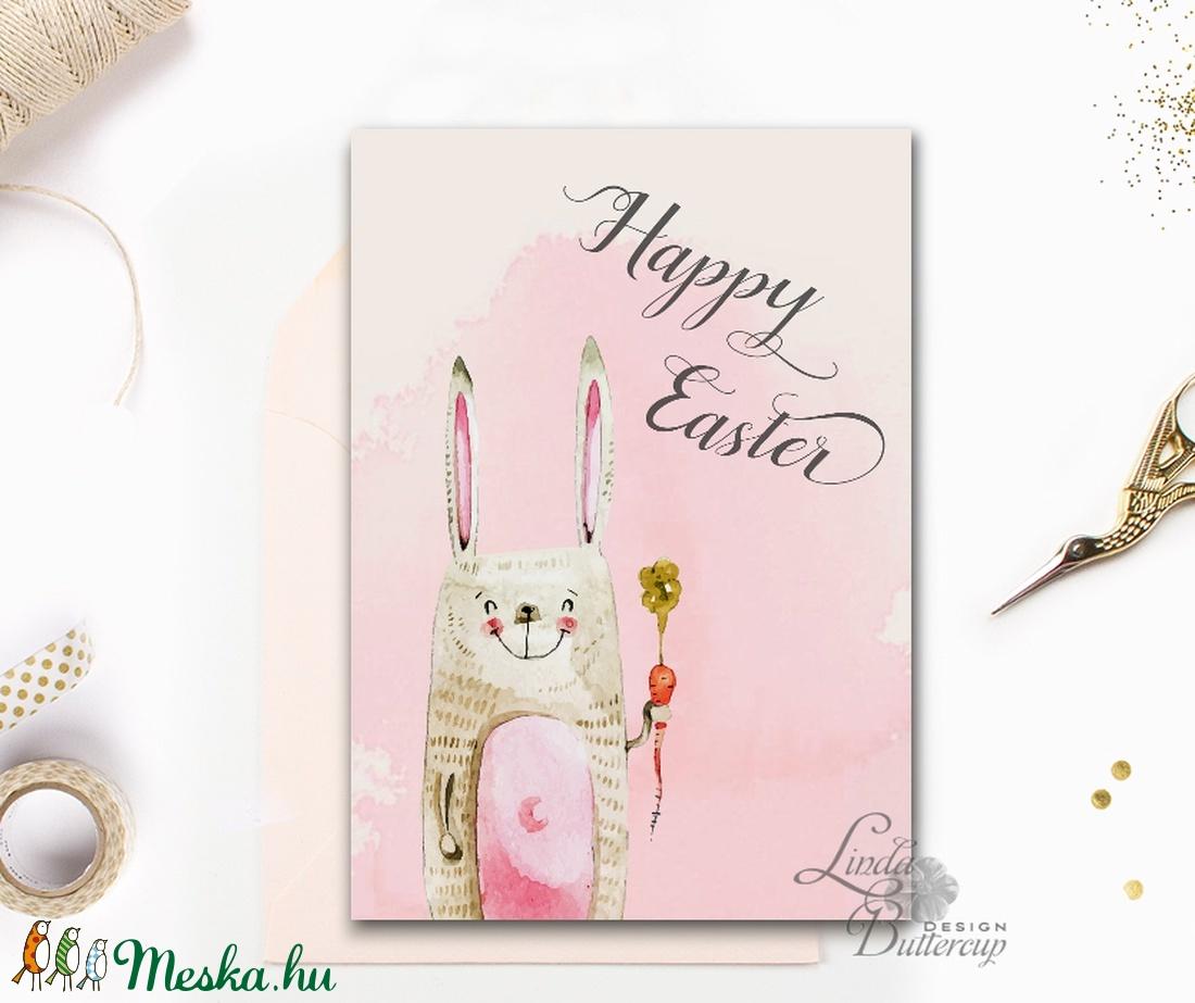 Húsvéti Képeslap, Húsvéti lap, Boldog Húsvétot, Húsvéti üdvözlőlap, Húsvéti Nyuszi, Nyúl, tojás, vicces (LindaButtercup) - Meska.hu