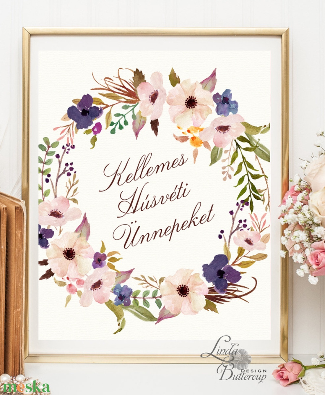 Tavaszi falikép, Húsvéti dekoráció, Húsvéti kép, Tavaszi virágok, virág koszorú, réti virág, vadvirág, nagy péntek (LindaButtercup) - Meska.hu