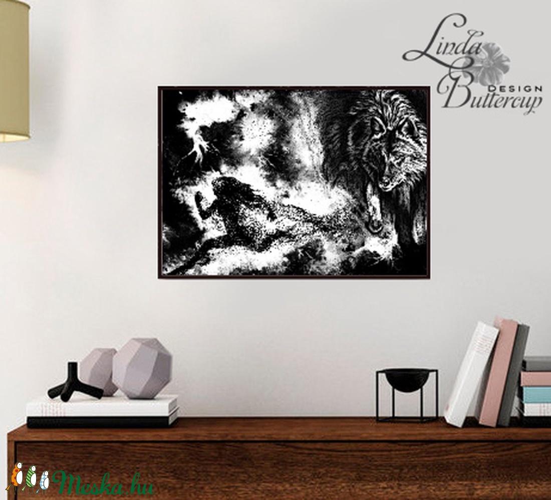 Farkas kép, Futó nő, farkasos falikép, dinamikus, fekete, fehér, Modern Art, Modern dekoráció, modern kép,  futó, futás (LindaButtercup) - Meska.hu