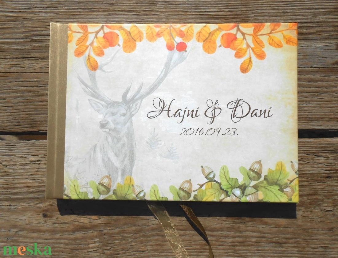Őszi Esküvői Emlékkönyv, Vendégkönyv, könyv, Őszi erdő, makk,fa levelek, szarvas, őz, tölgy, Esküvői vendégkönyv, - esküvő - emlék & ajándék - vendégkönyv - Meska.hu