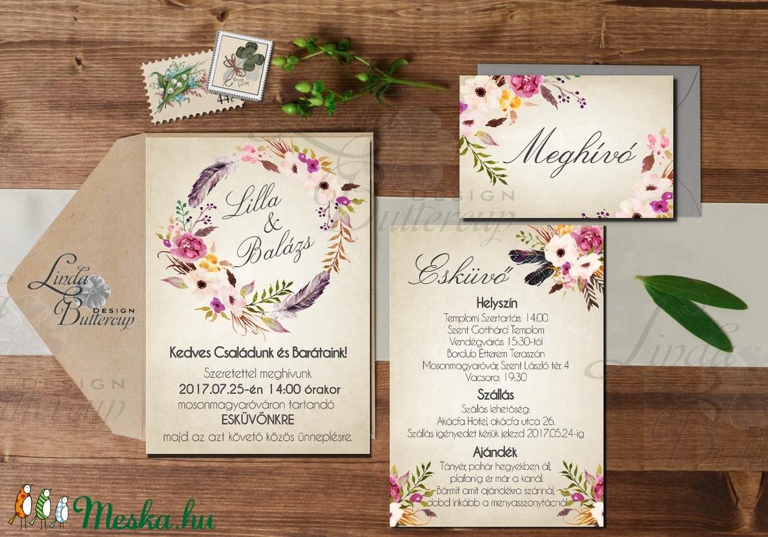 09d9e3fb6d Vintage Esküvői meghívó, Romantikus, elegáns meghívó, marsala, Barack  virág, virágos meghívó ...