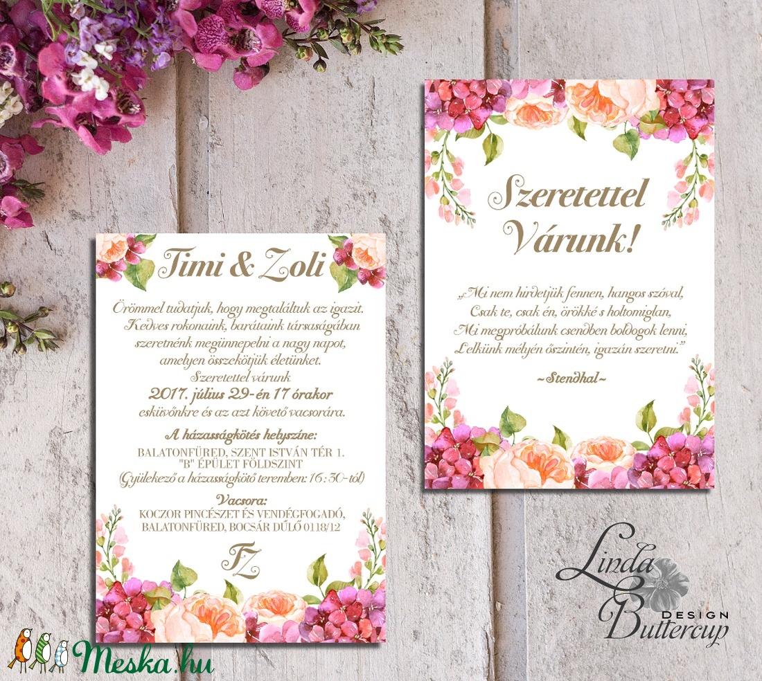 96bf79deff Hortenzia Esküvői meghívó, Dupla oldalas meghívó, Nyári Esküvő, Barack virág,  virágos meghívó ...