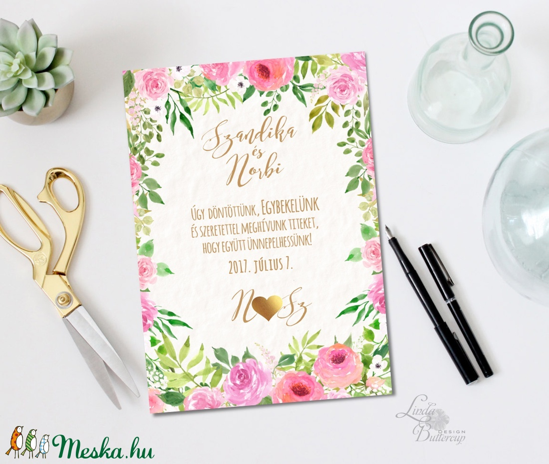 Rózsakert Esküvői meghívó, Nyári Esküvő, Rózsa, rózsás, elegáns, romantikus, virágos meghívó, vízfesték meghívó - esküvő - meghívó & kártya - meghívó - Meska.hu