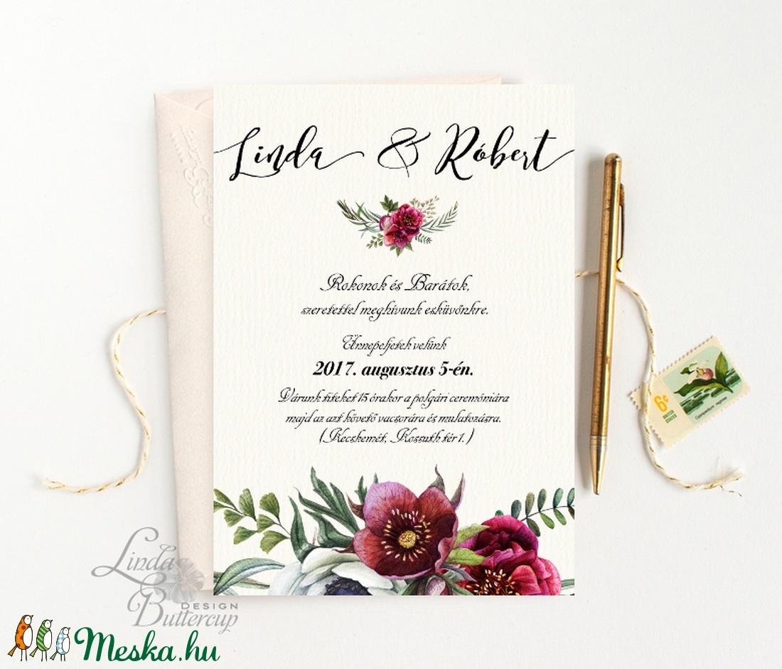 Bordó virágos meghívó, Rusztikus Meghívó, Bohó Esküvői meghívó, bohém, zöld leveles, levél, marsala meghívó, piros - esküvő - meghívó & kártya - meghívó - Meska.hu