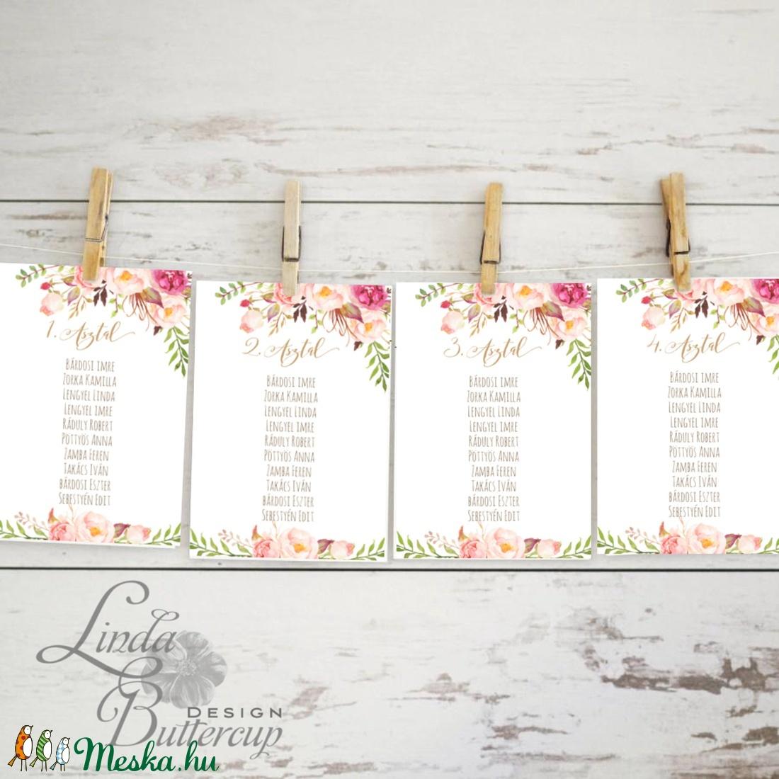 Ültetési rend, Asztalszámok, Esküvői ültetésirend, Ültetők, Ültetésrend, Esküvő dekor, Esküvő ültető kártya, rózsa (LindaButtercup) - Meska.hu