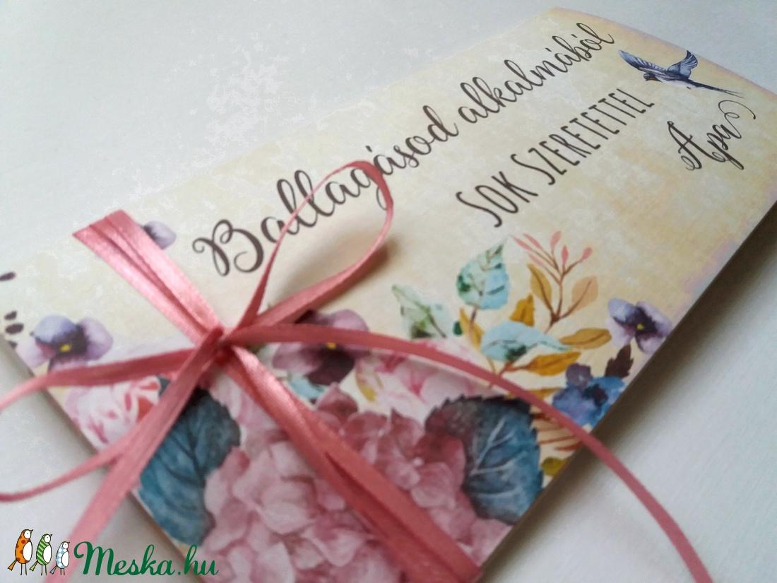 Pénzátadó boríték, Ballagásra, Évzáró, Gratulálunk képeslap, Gratuláció, virágos, pénz átadó lap, vintgae, érettségi - otthon & lakás - papír írószer - képeslap & levélpapír - Meska.hu