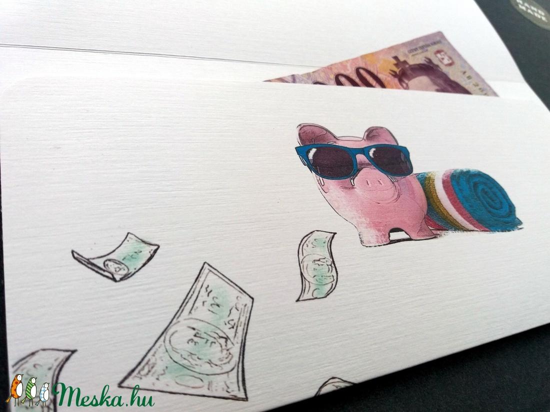 Pénzátadó boríték, Ballagásra, Évzáró, Gratulálunk képeslap, Gratuláció, virágos, pénz átadó lap, malac, érettségi - otthon & lakás - papír írószer - ajándékkísérő - Meska.hu