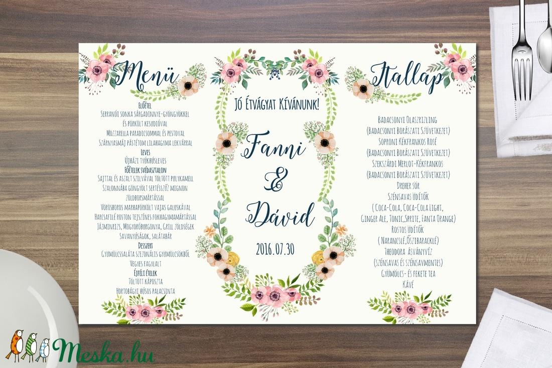 650e033d4f Esküvői Menü, Rusztikus Esküvő, Virágos Étlap, Itallap, Italok, Vacsora,  mezei virágok, Vintage Esküvő, Party, réti