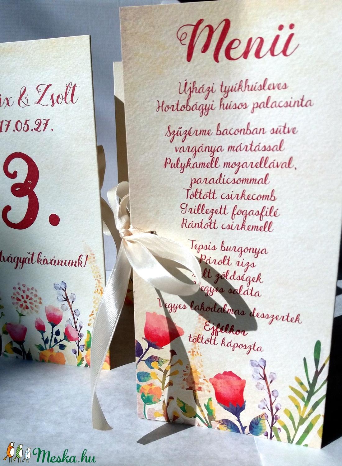d6f23424c6 ... mezei Esküvői Menü, Rusztikus Esküvő, Virágos Étlap, Itallap, Italok,  Vacsora, ...