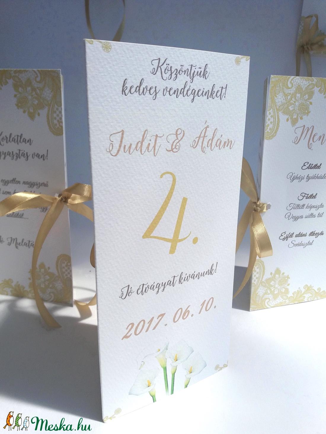7f0e97a203 ... Esküvői Csipkés Menü, Arany, Csipke, Kála, menükártya, itallap,  vacsora, ...