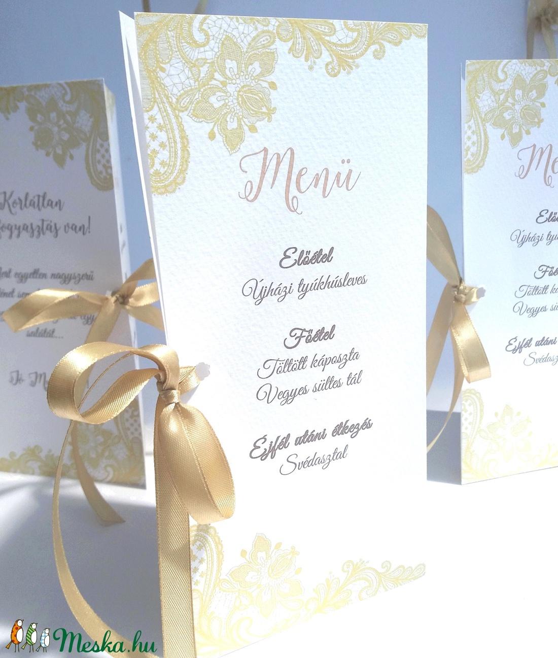 798ca7f85d Esküvői Csipkés Menü, Arany, Csipke, Kála, menükártya, itallap, vacsora,  étlap, elegáns, kála virág, virágos, Party menü