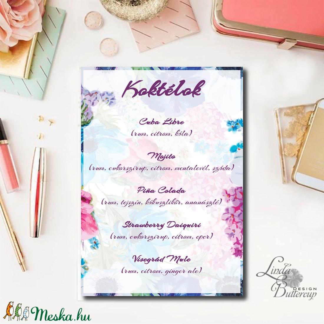 Esküvői Dekoráció, Esküvői felirat A4, dekor, Felirat, virágos, kék, réti, itallap, ital, koktél,, Esküvő, tábla (LindaButtercup) - Meska.hu