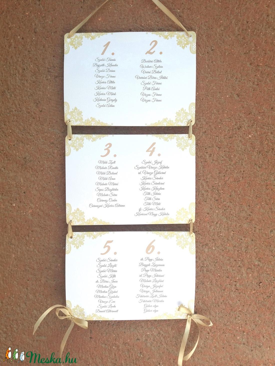 Ültetési rend, Esküvői Ültetésrend, elegáns, csipke, arany, tábla, Esküvő ültető kártya, Dekor, csipkés, elegáns (LindaButtercup) - Meska.hu