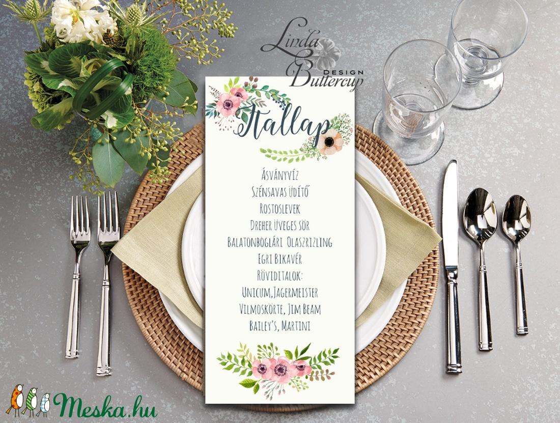 Esküvői Asztalszám, Menü, Itallap, Étlap, Vacsora, mezei virág, rusztikus, vintage, réti, Esküvői dekor, Asztal dekor (LindaButtercup) - Meska.hu