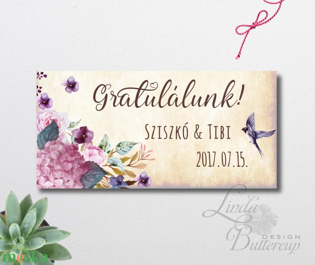 Pénzátadó boríték, Nászajándék, Gratulálunk képeslap, Esküvői Gratuláció, virágos, pénz átadó lap, vintgae, hortenzia - esküvő - emlék & ajándék - nászajándék - Meska.hu