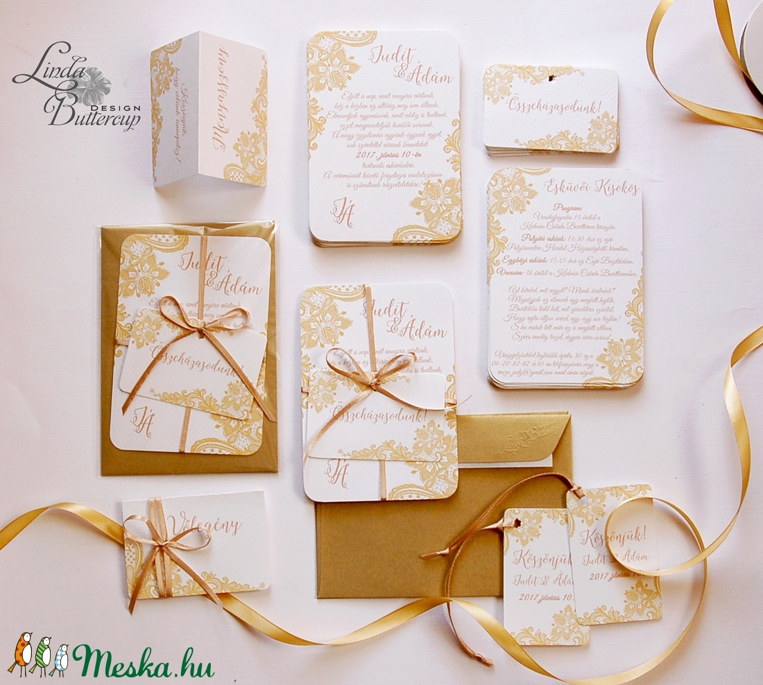 79c4845ab9 ... Arany Csipkés Esküvői meghívó szett 3 darabos+boírték, Elegáns meghívó,  Vintage Esküvő, ...