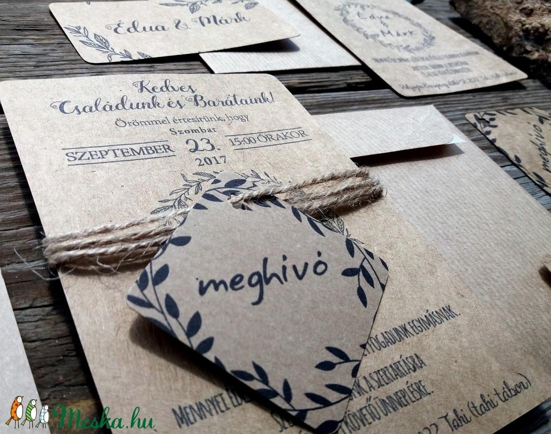 Barna, natúr meghívó, újrahasznosított papír meghívó, barna kraft papír, kraft meghívó, egyszerű meghívó, natúr esküvő - esküvő - meghívó & kártya - meghívó - Meska.hu