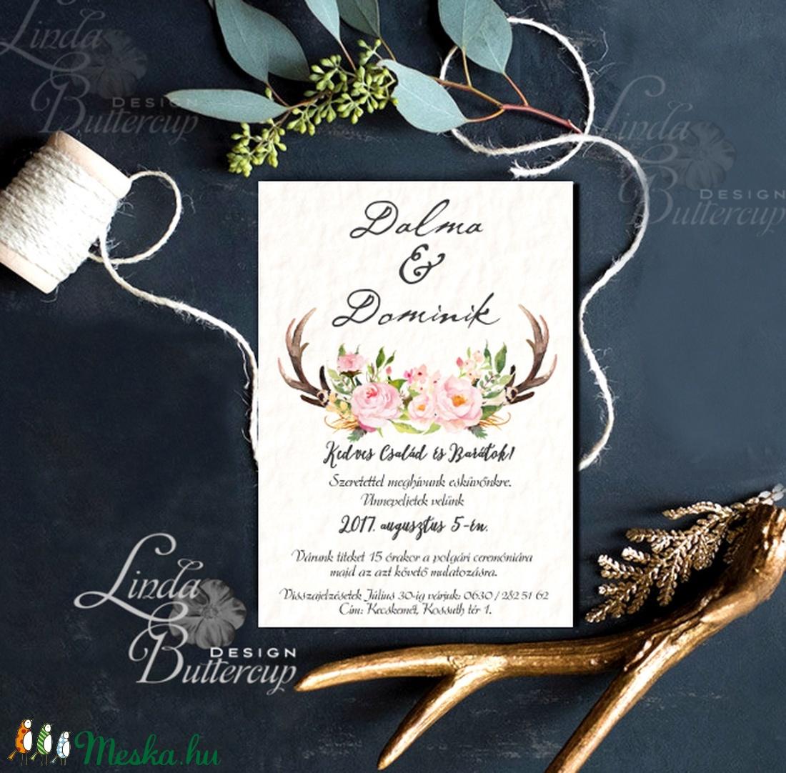 Agancsos Meghívó, Rusztikus esküvői meghívó, Bohó, natur meghívó, vadász, ősz, zöld leveles, levél, natúr, agancs, őszi - esküvő - meghívó & kártya - meghívó - Meska.hu